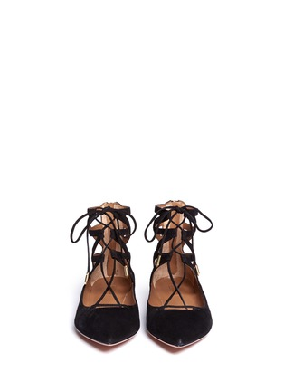 Front View - Click To Enlarge - Aquazzura - Belgravia' caged suede flats