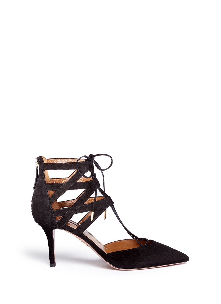Belgravia caged suede pumps by Aquazzura
