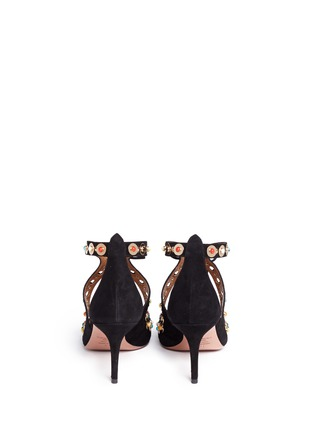 Back View - Click To Enlarge - Aquazzura - 'Byzantine' stud suede lace-up pumps