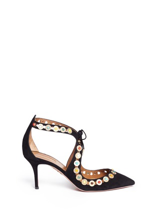 Main View - Click To Enlarge - Aquazzura - 'Byzantine' stud suede lace-up pumps