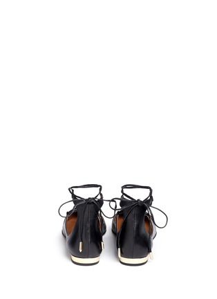Back View - Click To Enlarge - Aquazzura - 'Christy' lace-up nappa leather flats