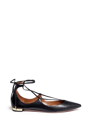 Main View - Click To Enlarge - Aquazzura - 'Christy' lace-up nappa leather flats