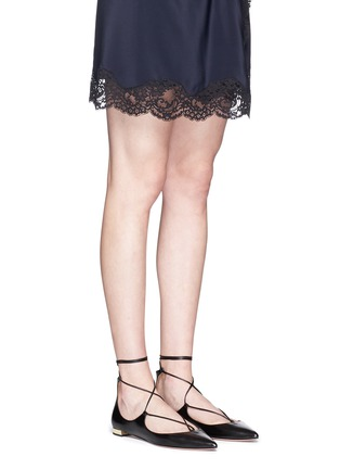 Figure View - Click To Enlarge - Aquazzura - 'Christy' lace-up nappa leather flats