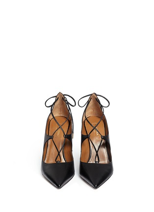 Front View - Click To Enlarge - Aquazzura - 'Christy' lace up nappa leather pumps