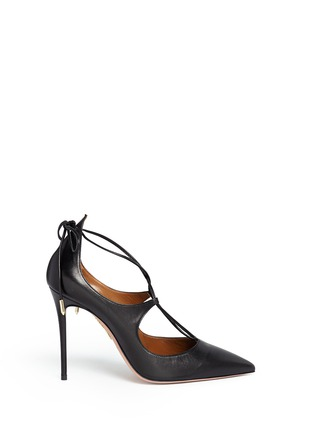 Main View - Click To Enlarge - Aquazzura - 'Christy' lace up nappa leather pumps