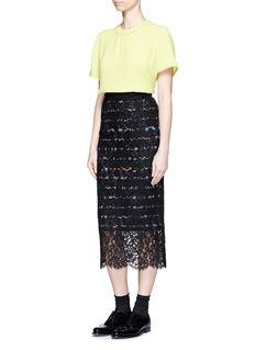 PREEN BY THORNTON BREGAZZI'Ilaria' stripe crepe underlay lace skirt
