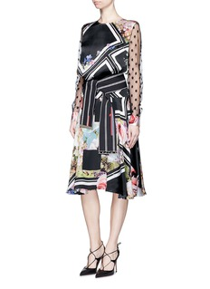 PREEN BY THORNTON BREGAZZI'Erin' chevron floral print belted dress