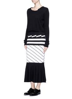 PREEN BY THORNTON BREGAZZI'Nev' variegated stripe knit midi skirt