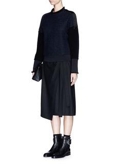 3.1 PHILLIP LIMUtility strap felt floral lace sweatshirt