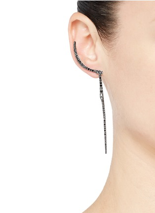 Figure View - Click To Enlarge - Cristinaortiz - Black diamond 9k gold crescent drop earrings