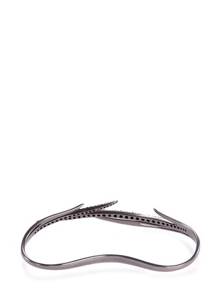 Figure View - Click To Enlarge - Cristinaortiz - Black diamond 9k gold hand bracelet