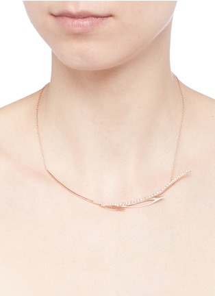 Detail View - Click To Enlarge - Cristinaortiz - Diamond 9k rose gold wing necklace