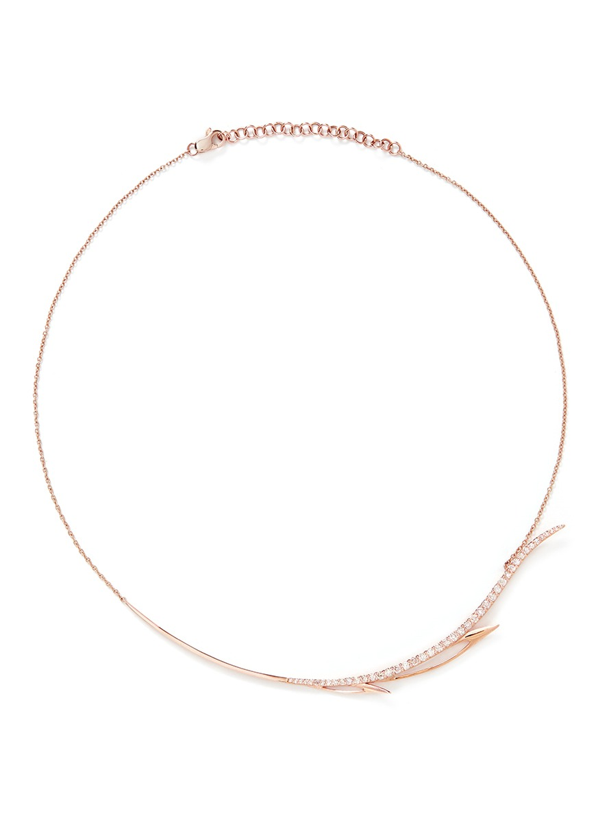 Diamond 9k rose gold wing necklace by Cristinaortiz