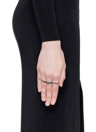 Figure View - Click To Enlarge - Cristinaortiz - Black diamond 9k gold wing two finger ring