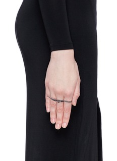 Cristinaortiz Black diamond 9k gold wing two finger ring