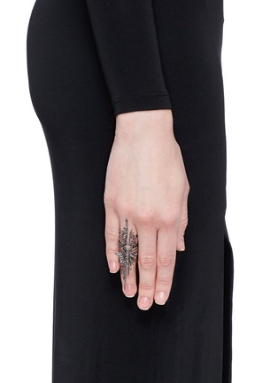 Figure View - Click To Enlarge - Cristinaortiz - Black diamond 9k gold wing ring