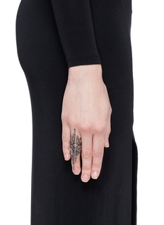 Cristinaortiz Black diamond 9k gold wing ring