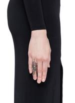 Black diamond 9k gold wing ring