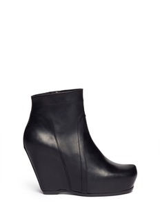 RICK OWENS Platform wedge leather ankle boots