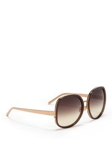 LINDA FARROWAcetate layer wire sunglasses