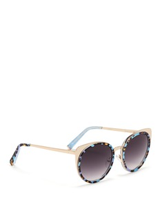 MATTHEW WILLIAMSONx Linda Farrow leopard acetate border steel sunglasses