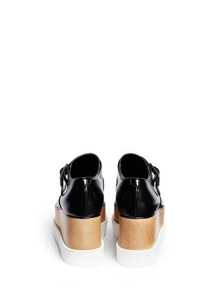 Back View - Click To Enlarge - Stella McCartney - 'Britt' alter nappa wood platform monk strap shoes
