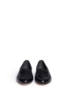 ALEXANDER MCQUEEN Sun and moon cutout leather slip-ons