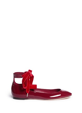 Main View - Click To Enlarge - Alexander McQueen - Velvet ribbon patent leather ballerina flats