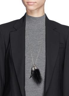 ALEXANDER MCQUEENMink fur skull horn pendant necklace