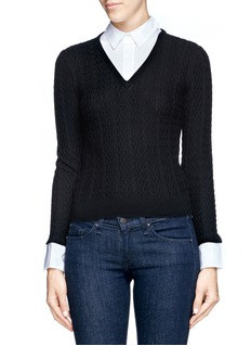 ALICE + OLIVIA Wool cable knit shirt sweater