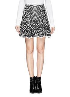 RVN'Alligator' jacquard flare skirt