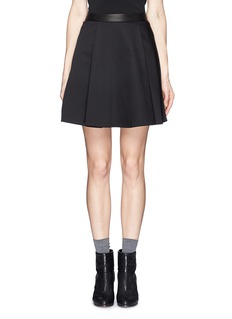 ALICE + OLIVIA Leather waistband centre pleat skirt