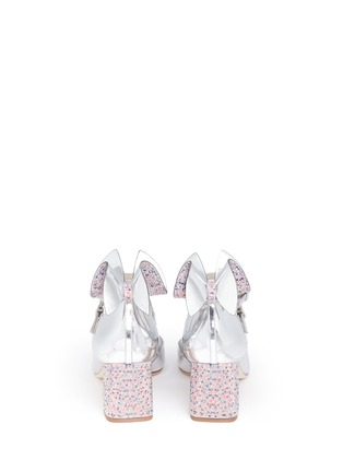 Back View - Click To Enlarge - Sophia Webster - 'Lilia' crystal 3D bow mirror leather Mary Jane pumps