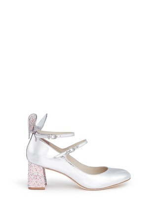 Main View - Click To Enlarge - Sophia Webster - 'Lilia' crystal 3D bow mirror leather Mary Jane pumps