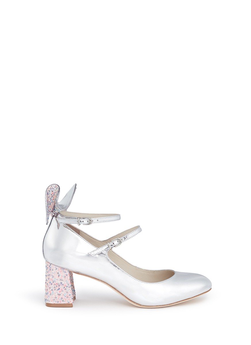 Lilia crystal 3D bow mirror leather Mary Jane pumps by Sophia Webster