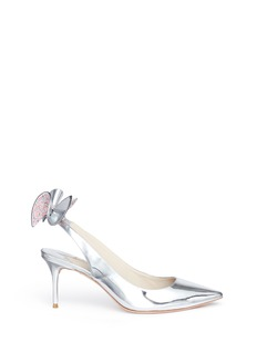 Sophia Webster Edie' crystal 3D bow mirror leather slingback pumps
