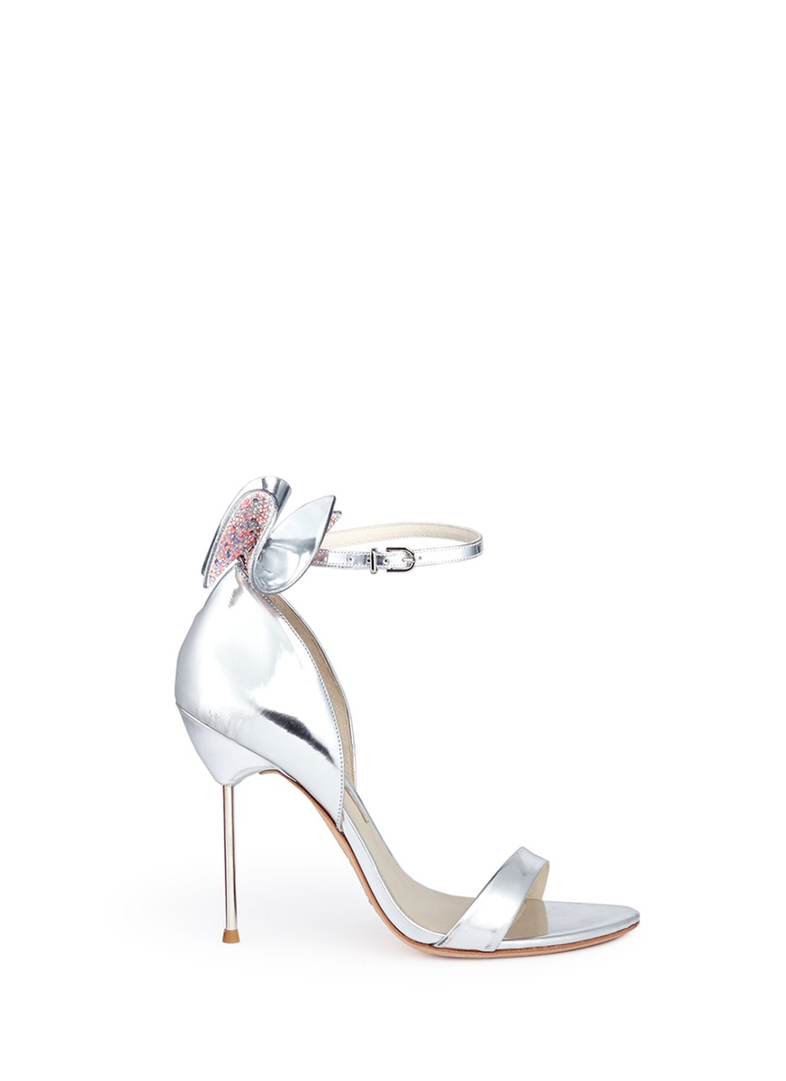 Maya crystal 3D bow mirror leather sandals by Sophia Webster