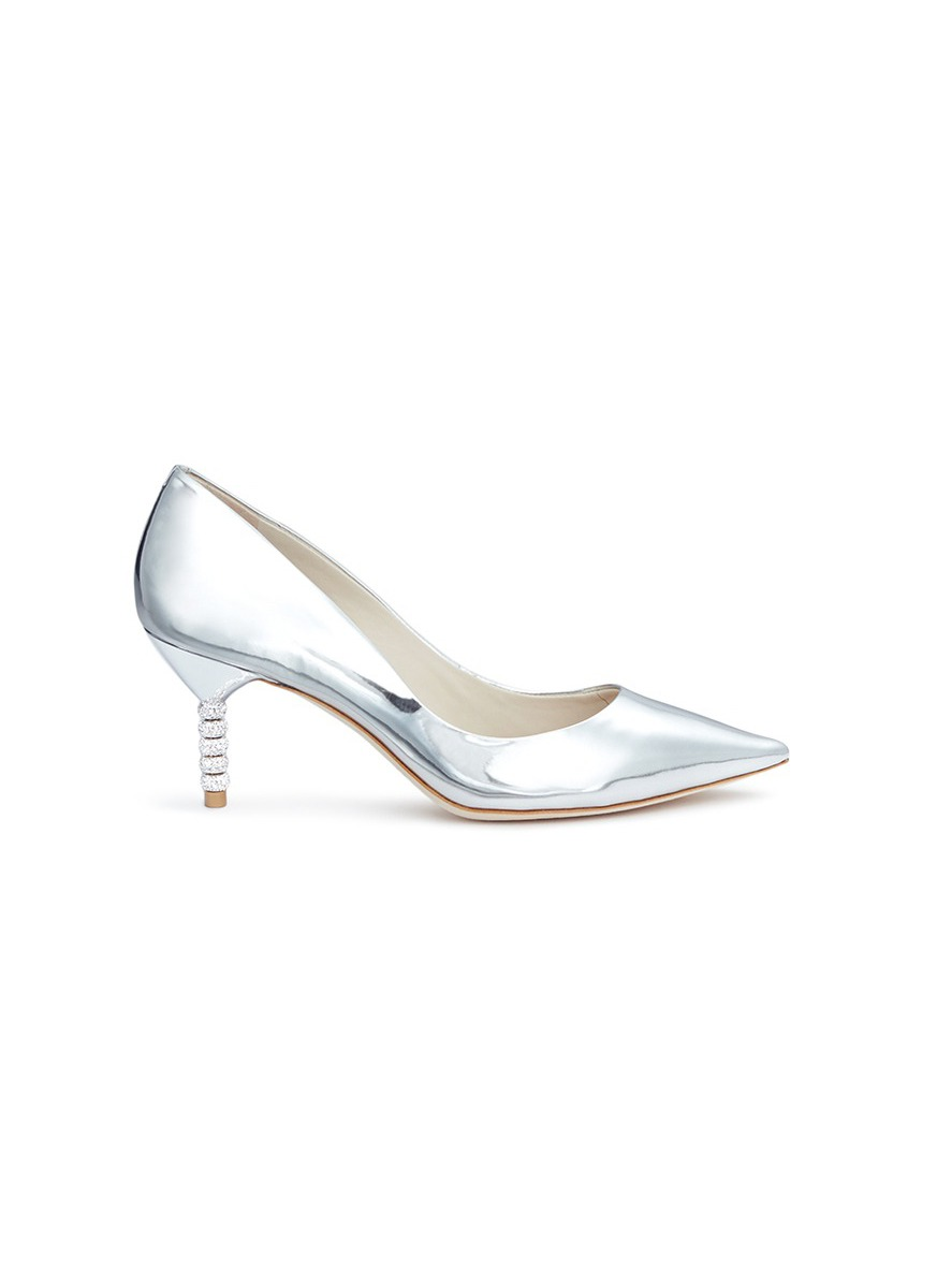 Coco crystal pavé bead heel mirror leather pumps by Sophia Webster