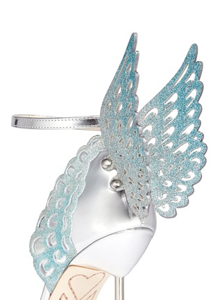 Sophia Webster - 'Evangeline' 3D glitter angel wing mirror leather sandals