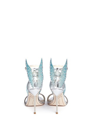 Back View - Click To Enlarge - Sophia Webster - 'Evangeline' 3D glitter angel wing mirror leather sandals