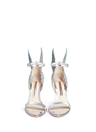 Front View - Click To Enlarge - Sophia Webster - 'Evangeline' 3D glitter angel wing mirror leather sandals