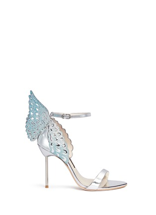 Main View - Click To Enlarge - Sophia Webster - 'Evangeline' 3D glitter angel wing mirror leather sandals