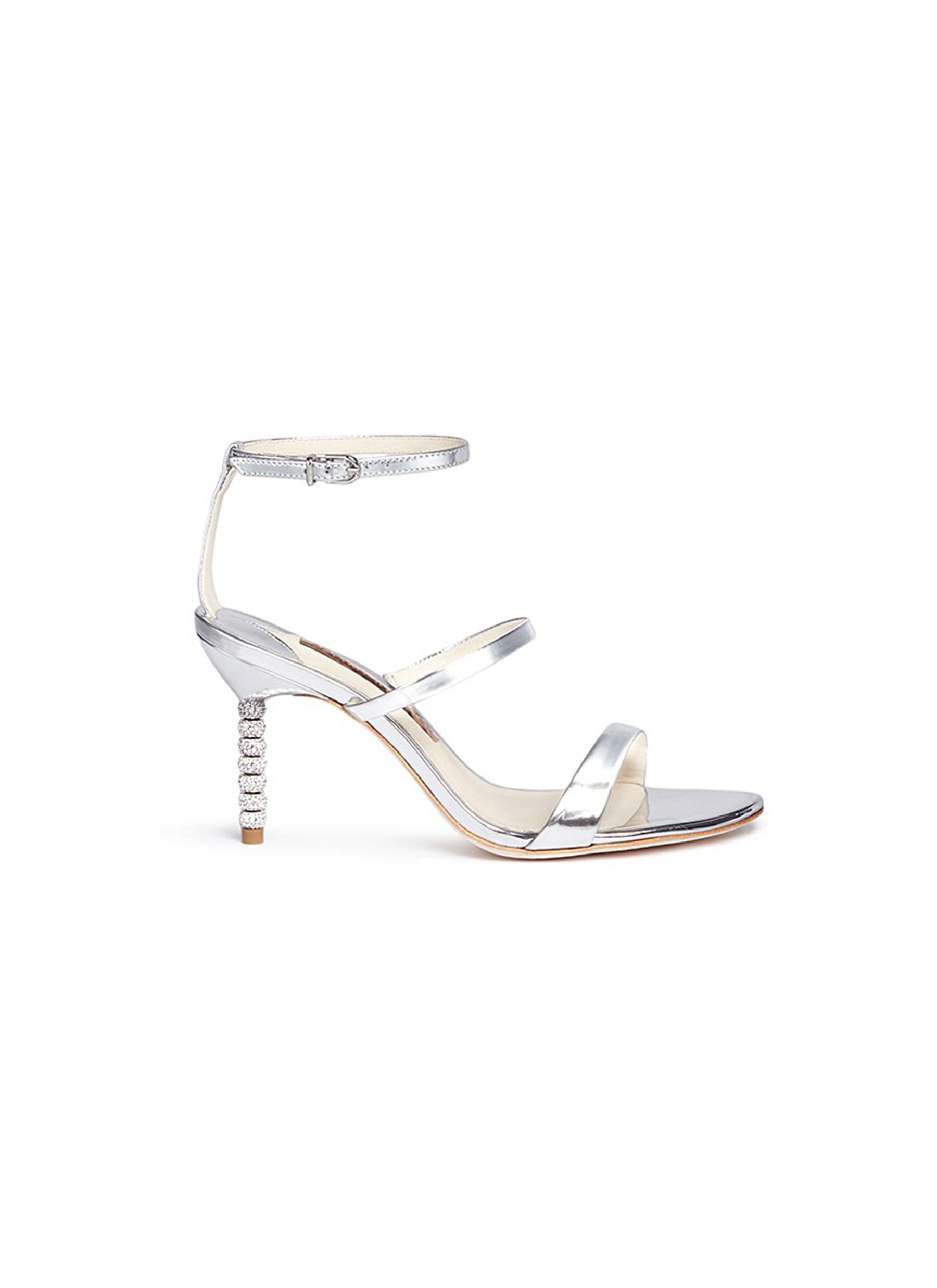Rosalind crystal pavé bead heel mirror leather sandals by Sophia Webster