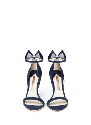 Front View - Click To Enlarge - Sophia Webster - Maya' glitter 3D bow suede sandals