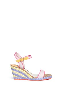 Sophia Webster 'Lucita' canvas strap raffia wedge sandals