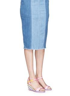 Sophia Webster'Lucita' canvas strap raffia wedge sandals