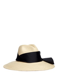 Sensi StudioOversized ribbon bow toquilla straw panama hat