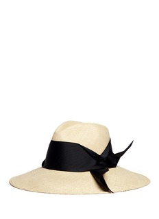 Sensi Studio Oversized ribbon bow toquilla straw panama hat