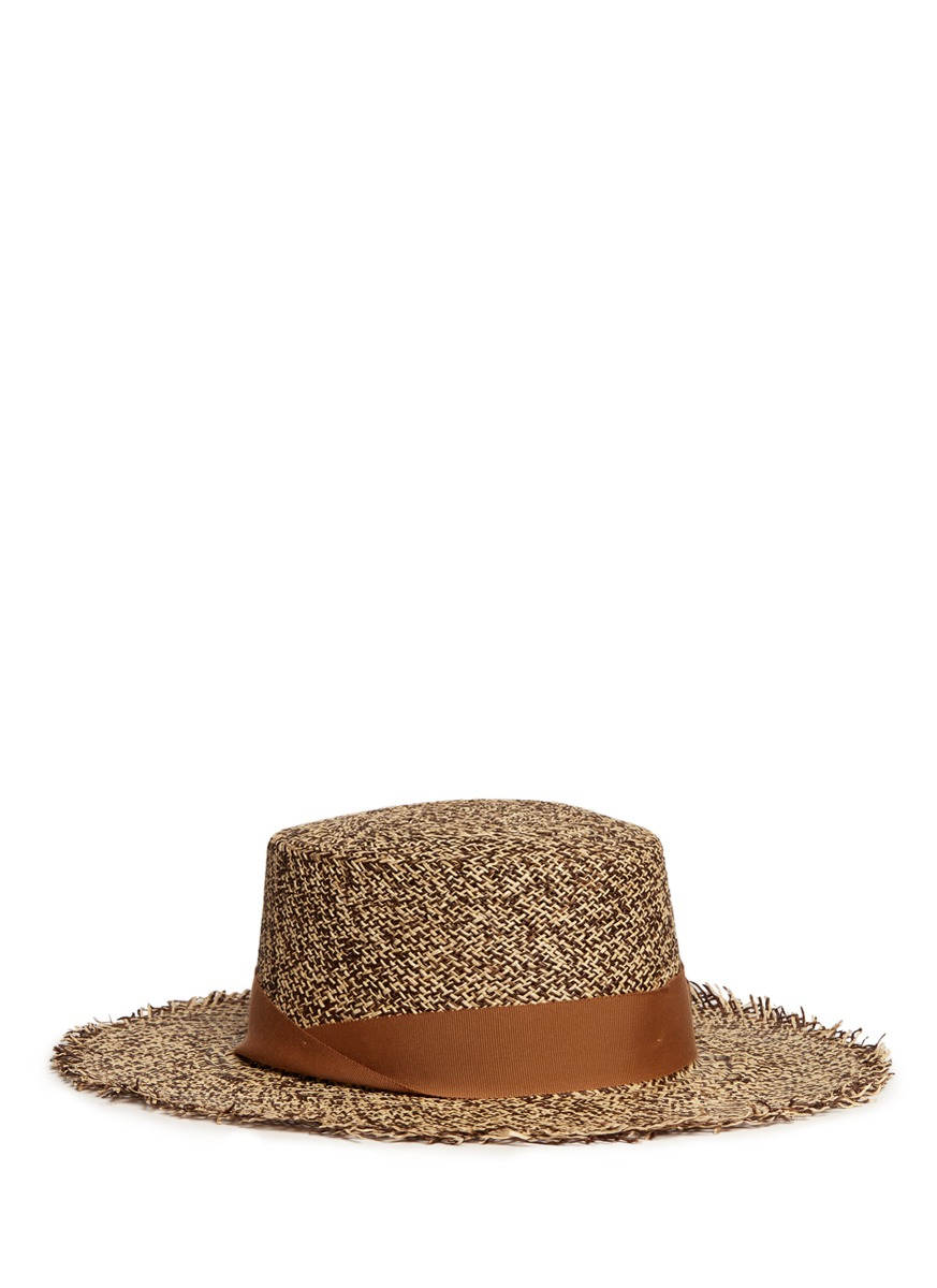 Frayed tweed effect toquilla straw boater hat by Sensi Studio