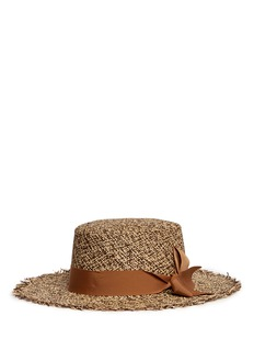 Sensi Studio Frayed tweed effect toquilla straw boater hat